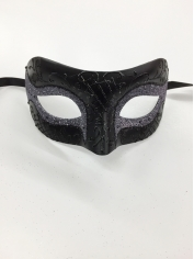 Black with Purple Glitter - Masquerade Masks