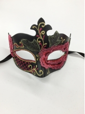 Black with Pink Flower - Masquerade Masks