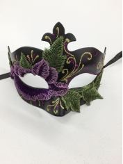 Black with Purple Flower - Masquerade Masks
