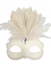 Cream with Feathers - Masquerade Masks
