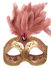 Pink Gold with Feathers - Masquerade Masks