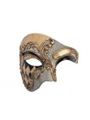Half Face Mask Black and Gold - Masquerade Masks