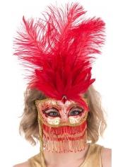 Belly Dancer Gold Red Eye Mask on Stick