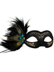ADRIANNA Black and Gold Peacock Feather Eye Mask