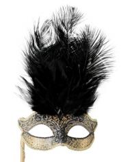 JOSEPHINE Black with Stick - Masquerade Masks