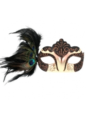 BURLESQUE with Peacock Feathers Black Eye Mask