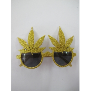Gold Marijuana leaves Novelty Glasses