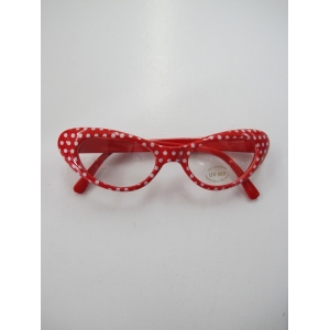 Funny Sunglasses 60's - Red / White Spots