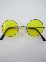 60's Hippie Round Yellow - Novelty Sunglasses