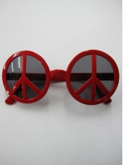 Red Peace Sign - Novelty Sunglasses