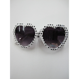 White with Black Dots Heart Shaped Sunglasses