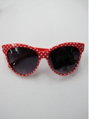 Red with Black Dots Cat Eye Sunglasses