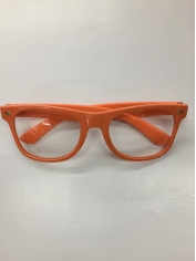 Clear with Orange Frame - Novelty Glasses