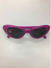 50's Pink / Black Spots Novelty Glasses