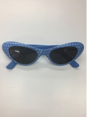 50's Blue White Spots - Novelty Glasses