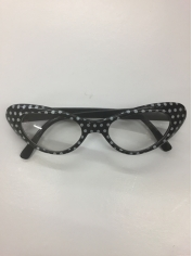 50's Black White Spotted - Novelty Sunglasses