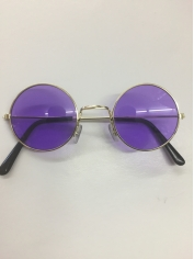 60's Hippie Round Purple - Novelty Sunglasses