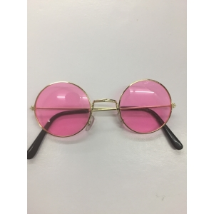 60's Hippie Round Pink - Novelty Sunglasses