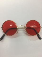 60's Hippie Round Red - Novelty Sunglasses