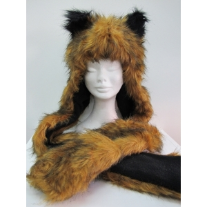 Long Brown Fox Hood - Animal Hood