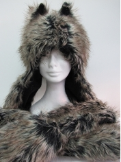 Long Wolf Gray Hood - Animal Hood