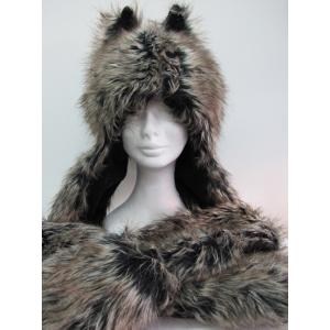 Long Wolf Gray Hood - Animal Hood