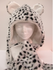 Long Snow Leopard Hood - Animal Hood