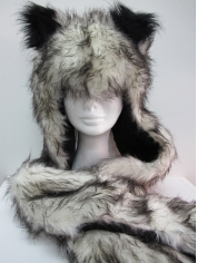 Long Grey Fox Hood - Animal Hood