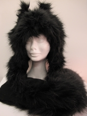 Long Black Cat Hood - Animal Hood