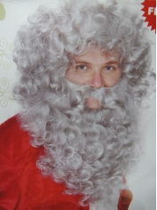 Grey Santa Claus Wig and Beard - Christmas Accessories
