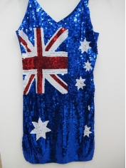 Aussie Flag Blue Sequin Dress
