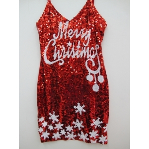 Sequin Merry Christmas Dress - Christmas Costumes