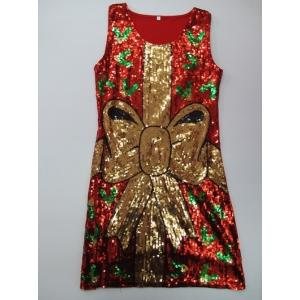 Sequin Christmas Bow Dress - Christmas Costumes