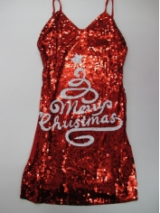 Sequin White Christmas Tree Dress - Christmas Costumes