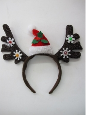 Light Up Reindeer Headband With Mini Hat