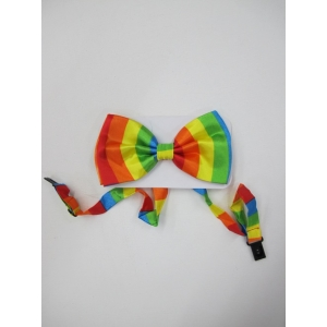 Rainbow Coloured Bow Ties - Mardi Gras Accessories