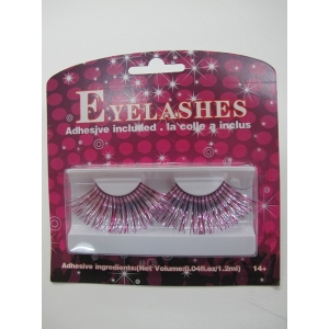 Silver with Pink Shining Eyelashes - Mardi Gras Costumes