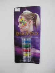 Rainbow Colour Face Paint - Mardi Gras Makeup