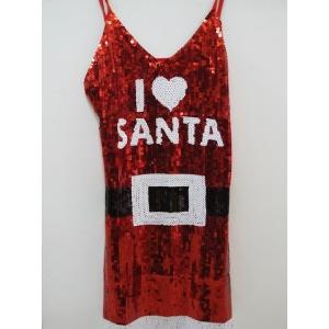 I Love Santa Sequin - Girl Christmas Costume