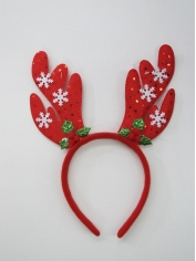 Red Sequin Reindeer Headband With Snow