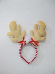 Reindeer on Red White Headband - Christmas Hats
