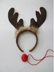 Brown Reindeer Headband with Gold Leaves