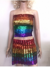 Rainbow Sequin Top and Skirt - Mardi Gras Costumes