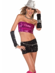 Sequin Tube Top Pink - Disco Party Costumes