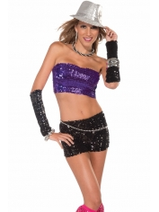 Sequin Tube Top Purple - Disco Party Costumes