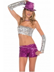 Sequin Tube Top Silver - Sequin Costumes
