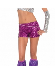 Pink Sequin Shorts - Sequin Costumes