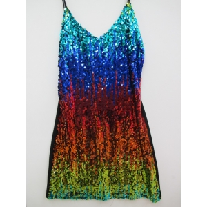 Rainbow Sequin Dress - Mardi Gras Costumes
