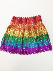 Rainbow Sequin Skirt - Mardi Gras Costumes