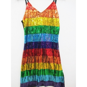 Sexy Rainbow Sequin Dress - Mardi Gras Costumes